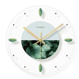 school europe 2019 - Creative Nordic Plant Flowers Wall Clock Fashion Glass Clocks Home Office School Decorations Fun Gifts Dropshipping chea