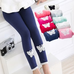 wholesale kids pencil pants NZ - Girls Fashion Leggings Solid Butterfly Small Flower Ankle Length Elastic Waist Pants Children Pants Baby Girls Kids Tights 14 Colors