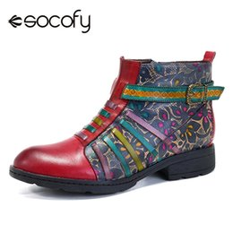 ladies motorcycles leather Australia - SOCOFY Bohemian Style Leather Hand-Painted Vintage Casual Ladies Ankle Boots Western Cowboy Motorcycle Ankle Boots for Female
