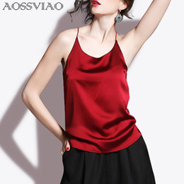 halter neck blouse women Australia - Silk Crop Summer Women Tank Top Sleeveless Shirt Bustier Sexy O-neck Halter Vest Bralette Blouse Cami Black White Red Q190514