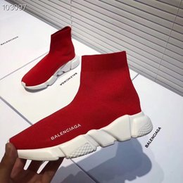 Flat Knit Socks Australia - Luxury Fashion knitting Sock Shoes Designer Sneakers Speed Flat Trainer shoes Men Women Casual Stretch socks boots of Best quality