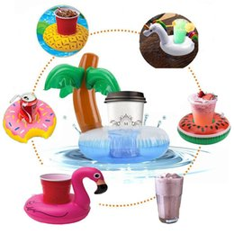 kids duck pool NZ - Inflatable Coasters Palm Tree Duck Swan Cup Holder Swimming Pool Spa Floating Drink Holder Children Kids Water Fun Float Toys