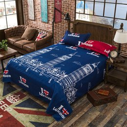 Wholesale Used Sheets Australia - Blue Color London Print Flat Sheet 100% Polyester Sanding Flat Bed Sheet For Children Adults Single Double Bed Use XF345-4