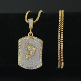 Gold Jesus Head Pendant Australia - HIP Hop Punk Rhinestone Iced Out Crystal JESUS Dolphin Cross Christ Piece Head Face Pendants Necklaces Gold Chain for Men Women Jewelry