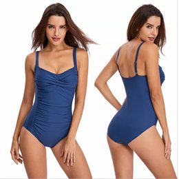 Wholesale xs one piece swimwear online – Women s One Piece Swimsuits Solid Color Printed Athletic Training Swimwear Sexy Bathing Suits Beach Pool Tummy Control XS XL