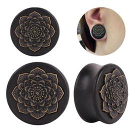 flower tunnels 2019 - New Style Black Natural Wood Mandala Flower Ear Plugs Tunnels Ear Expanders Earring Gauges Piercing Plug Ears Body Jewel