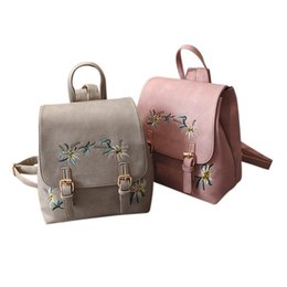$enCountryForm.capitalKeyWord Australia - Fashion Floral PU Leather Backpack Girls Women Embroidery Double Shoulder for Teenage Small Backpacks