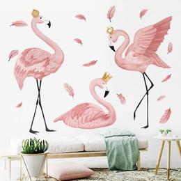 $enCountryForm.capitalKeyWord Australia - The Flamingo Queen Stickers For Living Bedroom Kids Room Nursery Wall Decor Art Murals Baseboard Vinyl Decals Q190605