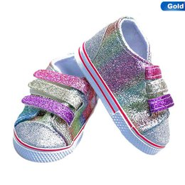 $enCountryForm.capitalKeyWord Australia - Fashion Sequins Shoes Fits 18 Inch Doll 43CM Dolls Baby Doll DIY Shoes For American Girl Boots Golden Color Random