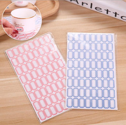 Wholesale blank label stickers blue red paper self adhesive sticky labels writable name stickers blank note label stationery school office supplies