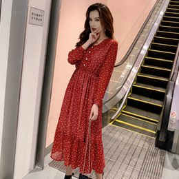 Dot Line Dress Australia - Bgteever Two Layers V-neck Dot Printed A-line Women Long Dress Full Sleeve Female Chiffon Dress 2019 Elastic Waist Vestidos Y19051102