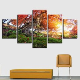 293581a6783 Canvas HD Prints Pictures Wall Art 5 Pieces Autumn Forest Trees Painting  Scenery Poster Modular Living Room Home Decor Framework
