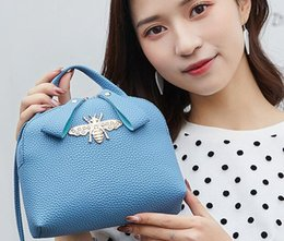 Metallic Tote Bags Wholesale Australia - Double Zipper Ladies Cell Phone Pocket Shoulder Tote bags Women Korean Style Small Crossbody bag Mini Bee Cosmetic Bag Mixed Wholesale