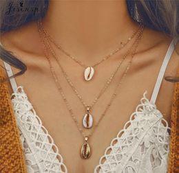 Necklaces Pendants Australia - Jisensp Boho Seashell Pendant Necklace Natural Shell Gold Cowrie Choker Necklaces Tassel Chain Layered Necklace Collares joyas