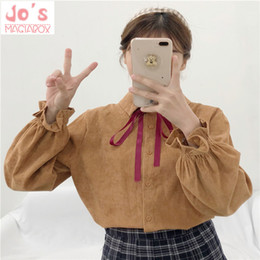 Wholesale Women Tops Long Sleeves Ruffles Shirts Japan Sweet Style Camisa Feminina Ladies Casual Blusa Turndown Collar Button Blouse