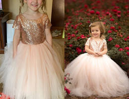 kid red white tulle tutu pictures 2019 - Fashion Rose Gold Sequins Flower Girls Dresses 2019 Jewel Neck Short Sleeves Tutu Skirt Ball Gown Long Cheap Kids First
