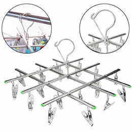 Laundry Clothes Hanger Rack Australia - Windproof Laundry Socks Gloves Clothes Hanger Collapsible Stainless Steel Hanging Rack 20 Clothespin Drying Racks Outdoor
