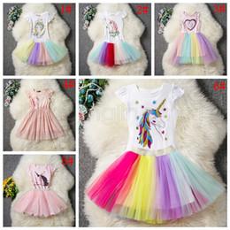 6styles unicórnio menina arco-íris saias outfits dress top + tutu dos desenhos animados crianças dancing party clothing define 2 pçs / set ffa1734