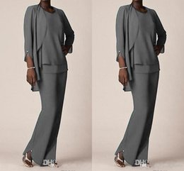$enCountryForm.capitalKeyWord NZ - Elegant Grey Chiffon Mother of the bride Pant Suits With Jacket Long Sleeve Plus Size Three Pieces Wedding Mothers Guest Dress Custom Made