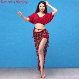 759a6c833f69d Women professional clothes online shopping - Girls Women Belly Dance Top  Sequin Tassel Skirt Performance Dancewear