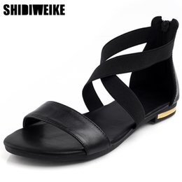 Sale Leather Sandals NZ - 2019 Genuine Leather Women Sandals Hot Sale Fashion Summer Sweet Women Flats Heel Sandals Ladies Shoes Black n898