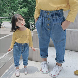 Discount cute baby girl denim pants - 2019 New Arrival Autumn Baby Girls Denim Pants Children Kids Solid Jeans High Waist with Bottons Fashion Cute Girls Jean