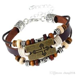 $enCountryForm.capitalKeyWord Australia - 20 styles 100% Genuine Leather Male Bracelet Metal Cross Retro Hemp Rope Punk Cuff Bangle Single Buckle Belt Bracelet pksp4-5