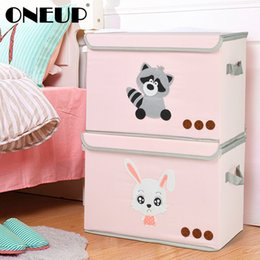 wood storage boxes drawers Australia - ONEUP Cartoon Animal Folding Storage Box For Kid Toy Organizer Drawer Underwear Storage Book Multi Organizer Boxes With Lid T200104