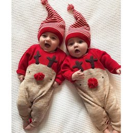 Cute Toddler Girl Rompers NZ - Cute Newborn Baby Rompers Cotton Long Sleeve Cartoon Toddler Jumpsuit With Hat Infant Christmas Clothes Baby Girls Clothing