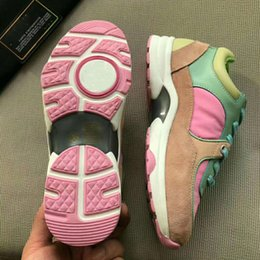 Ladies pink running shoes online shopping - New designer shoes for women real leather Suede Calfskin with origina box best quality luxury casual designer running shoes ladies