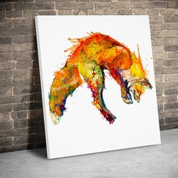 fox decor Australia - 1 Panel Watercolor Jumping Fox Canvas Paintings Wall Art Canvas Animals Prints Pictures Kids Room Home Decor Poster Painting