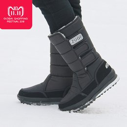 Plus size waterProof snow boots online shopping - Men Boots platform snow boots for men thick plush waterproof slip resistant winter shoes Plus size