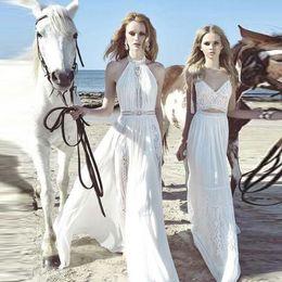 $enCountryForm.capitalKeyWord Canada - 2019 Summer Bohemian White Party Dresses A Line Halter Neck Backless Long Vestidos Cheap Evening Prom Gowns Beach Garden Holiday Wears 2330