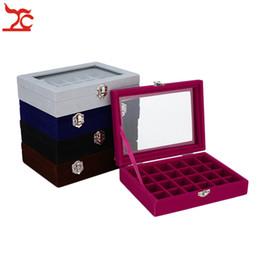 $enCountryForm.capitalKeyWord Australia - 24 Grids Velvet Jewelry Rind Joyeros Display Organizer Holder Case Clear Glass Lid Women Makeup Storage de joyas Casket Multi Colors
