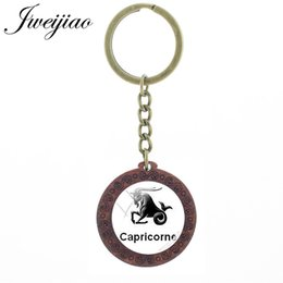 $enCountryForm.capitalKeyWord Australia - Vintage Twelve Constellations Key Chain Glass Picture Cabochon Wooden Charm Keychains Key Ring Pendant XZ84