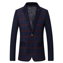 dinner coat men 2019 - Men's Plaid Blazer 2019 Elegant Dinner Jacket Men Slim fit Suit wool Jackets Autumn Wedding Suits Coat Casual Party
