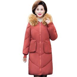 Wholesale long padded coat sale for sale – warmest winter Two Big Pockets Hot Sale Winter Jacket Women Hooded With Fur Female Long Padded Coat Warm Thicken Parka