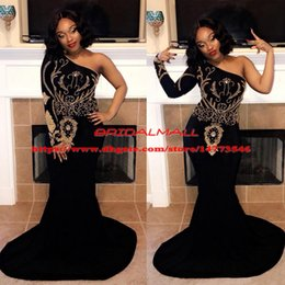 $enCountryForm.capitalKeyWord Australia - Major Beading Elegant Black Girls Mermaid Prom Dresses 2019 One Shoulder Formal Party Gowns Custom Evening Dress Plus Size vestido de fiesta