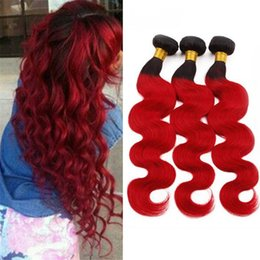 Two Tone Wavy Hair Australia - Ombre Red Virgin Hair 3 Bundles Deals 300g Body Wave Wavy Two Tone 1B Red Ombre Human Hair Weave Wefts Extensions 3Pcs Lot