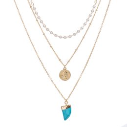 $enCountryForm.capitalKeyWord Australia - Retro Multi-layer Necklace Lucky Crescent Necklace Female Green Stone Imitation Turquoise Pendant Necklace Blue Gemstone Stone Jewelry