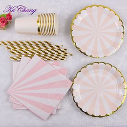 plate napkins NZ - Gilding High-end Disposable Tableware Set Pink Striped Paper Plates Cups Napkins Party Wedding Carnival Tableware Supplies