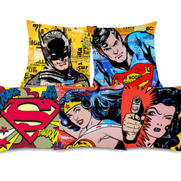 Wholesale Vintage POP Art Justice League Superman Wonder Woman Cushion Covers Beige Linen Pillow Covers X45cm Sofa Chair Decoration