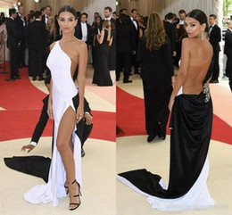 fashion gala dresses NZ - New Met Gala Celebrity Evening Dresses One Shoulder High Split Tulle Elastic Satin Black White Long Prom Dresses Tan See Through Back