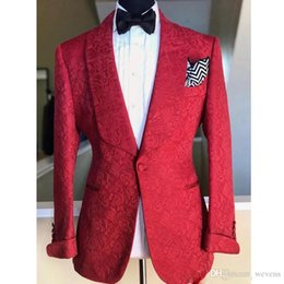 $enCountryForm.capitalKeyWord Australia - 2019 Newest Red Slim Fit Paisley Men Suits for Wedding Shawl Lapel One Button Groom Wears Latest Design Prom Clothing with Bow Tie
