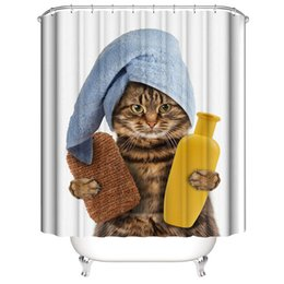 $enCountryForm.capitalKeyWord NZ - New Shower Curtains 3D Cat Rhinoceros Digital printing Waterproof mould proof DIY Customized Bath curtains 5 styles Bathroom hot sale
