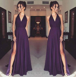 wedding dresses plus sides 2020 - Purple Chiffon Long Bridesmaid Dresses 2020 Halter Neck Ruched High Split Plus Size Maid of Honor Wedding Guest Dresses