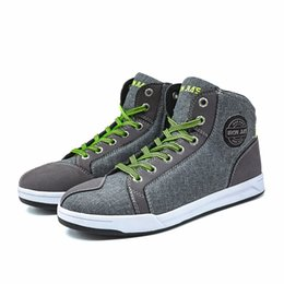 Moto Shoes UK - Motorcycle Riding Boots Men Road Street Gray Casual Shoes Motocross Boots Breathable Moto Protective Breathable Flax