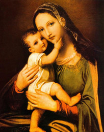 Discount christian frames VIRGIN MARY BABY JESUS CHRIST christian Home Decor Handpainted &HD Print Oil Painting On Canvas Wall Art Canvas Pictures 200219