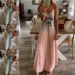Wholesale Penwom Casual Long Skirt Letter Print Slim Sling Dress S XL
