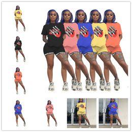Wholesale money print shirts for sale – custom Designer MAKE MONEY NOT FRIENDS Women Tracksuit Letters Print T shirt Shorts Piece Outfits Casual Tshirt Sports Suit Shorts Sets D61801